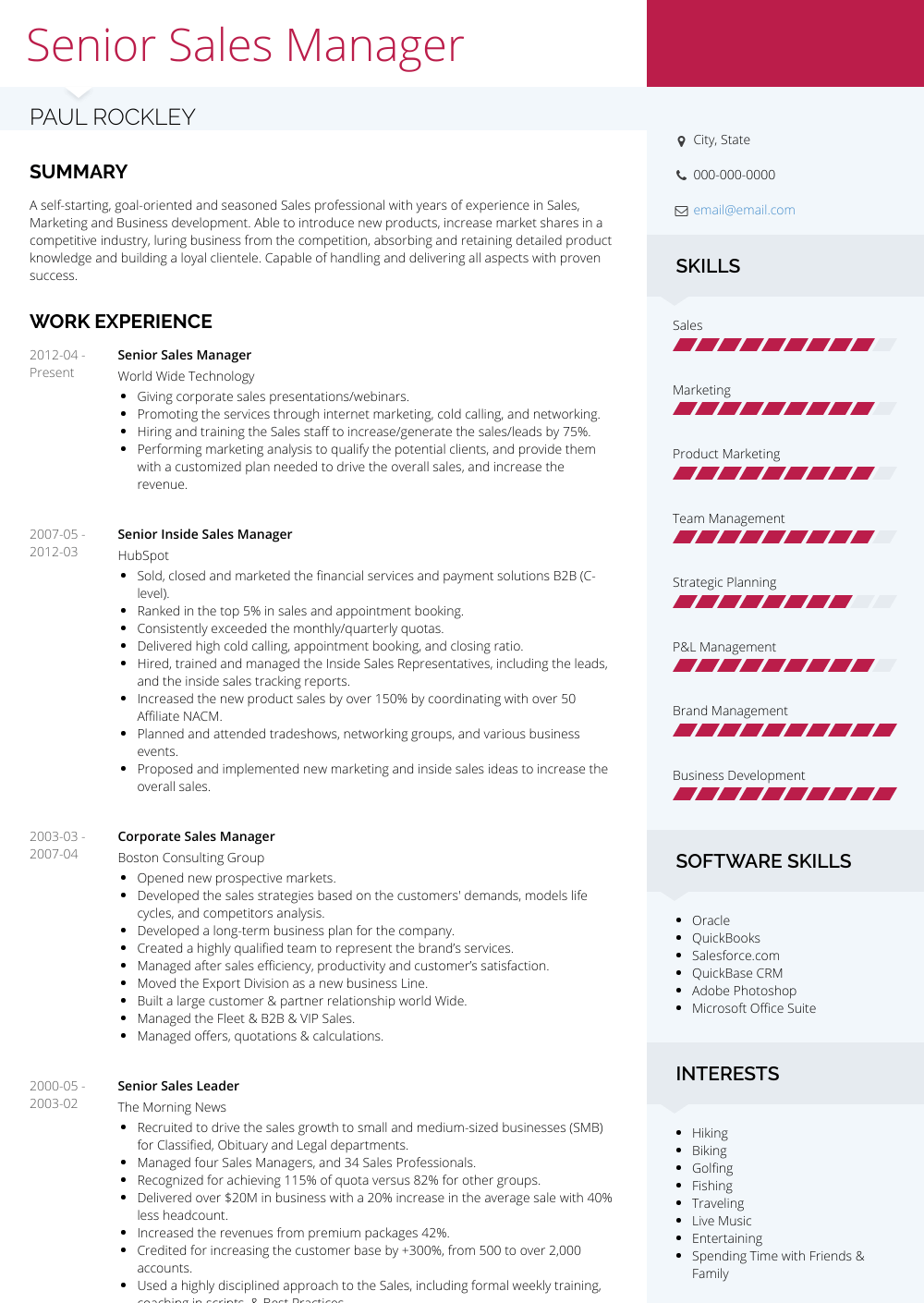 sample senior sales cv