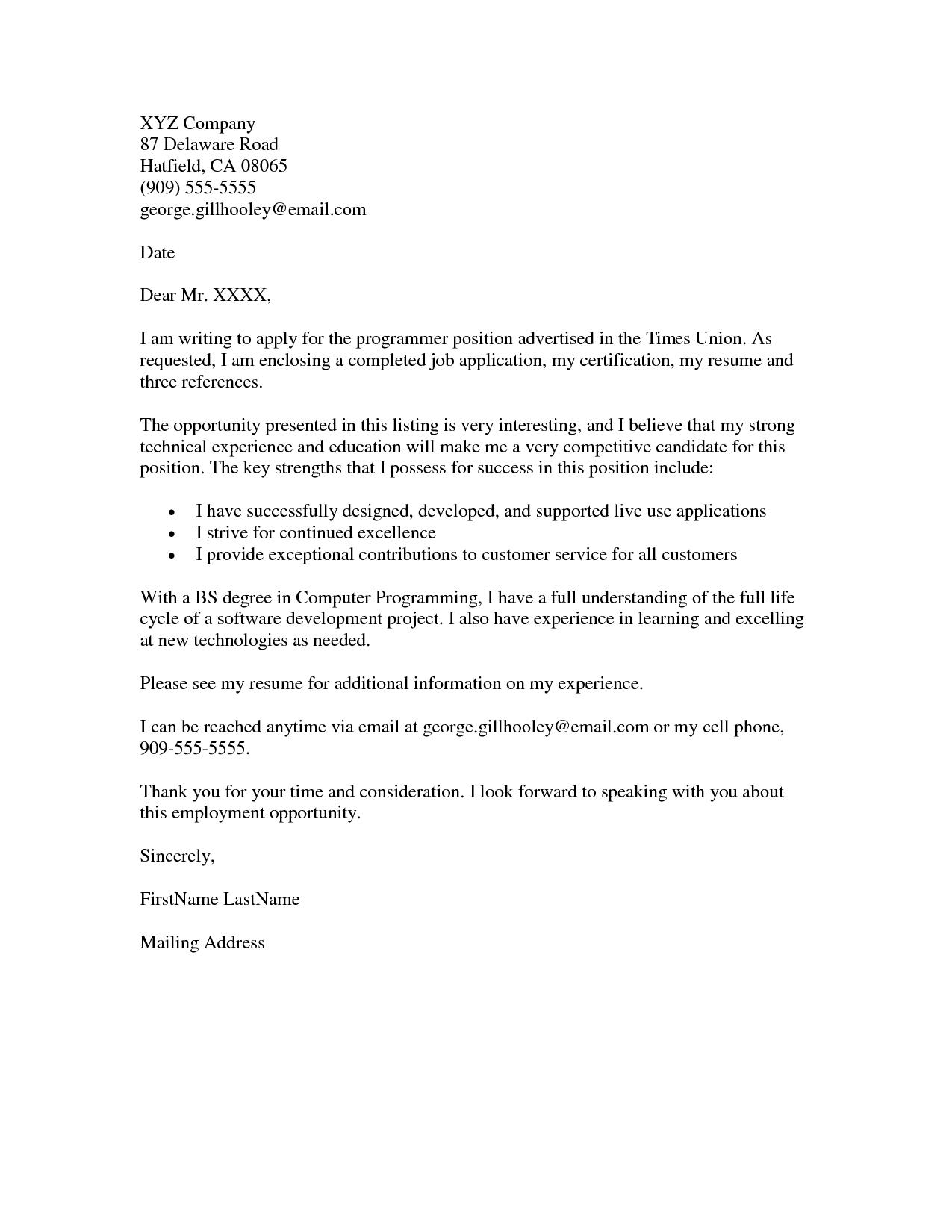 moore wilsons application letter