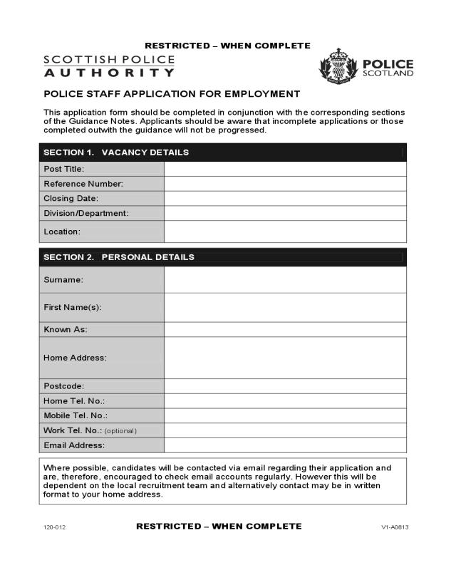 recruitment application form pdf