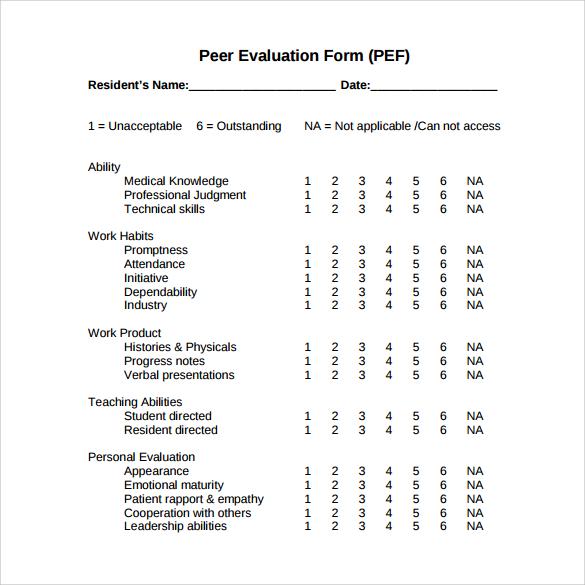 peer evaluation sample