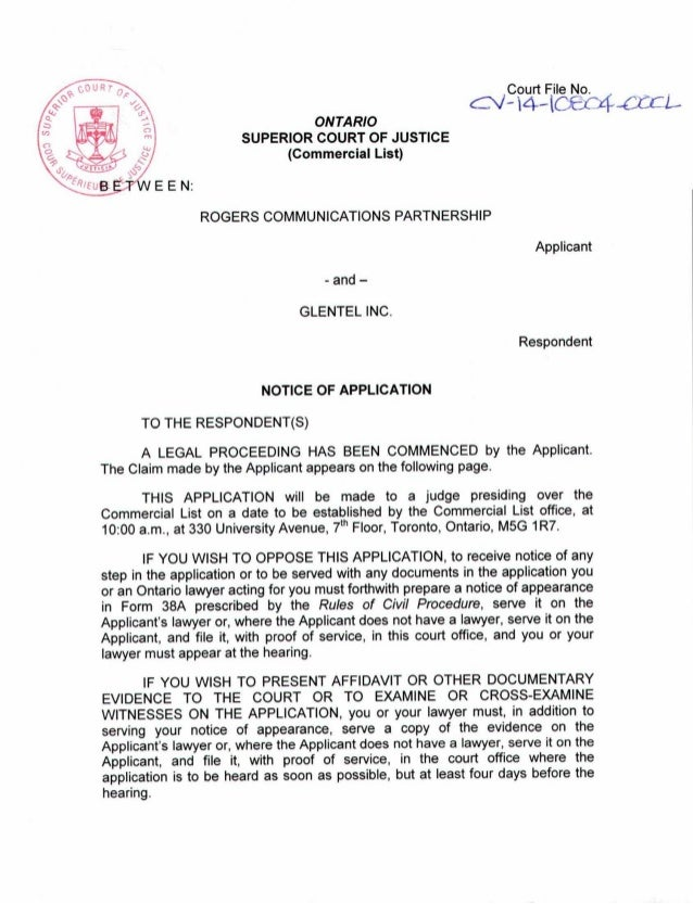 notice of application ministry of justice
