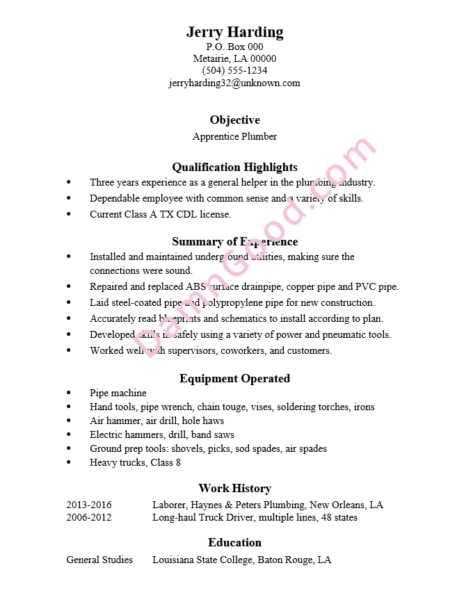 summary for plumber sample