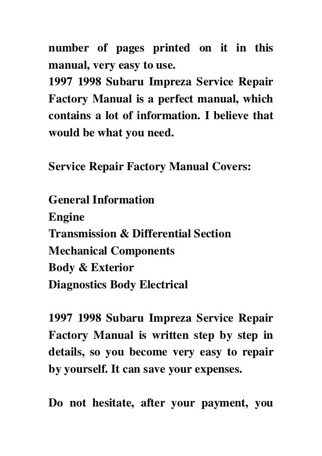subaru impreza service manual download