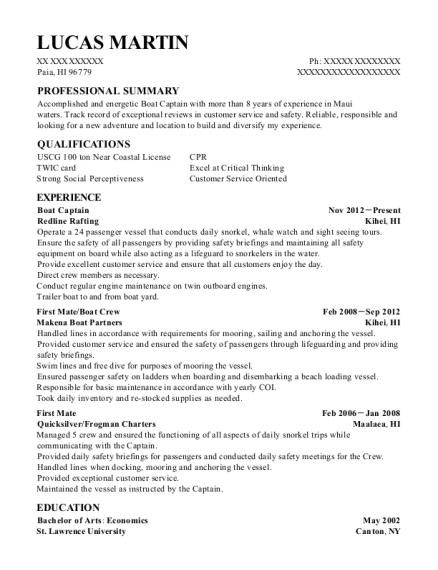 yacht captain resume sample