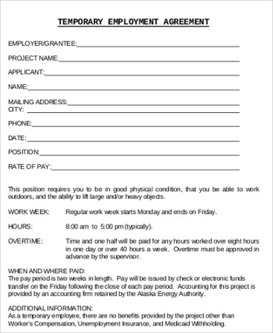 temporary employment contract sample
