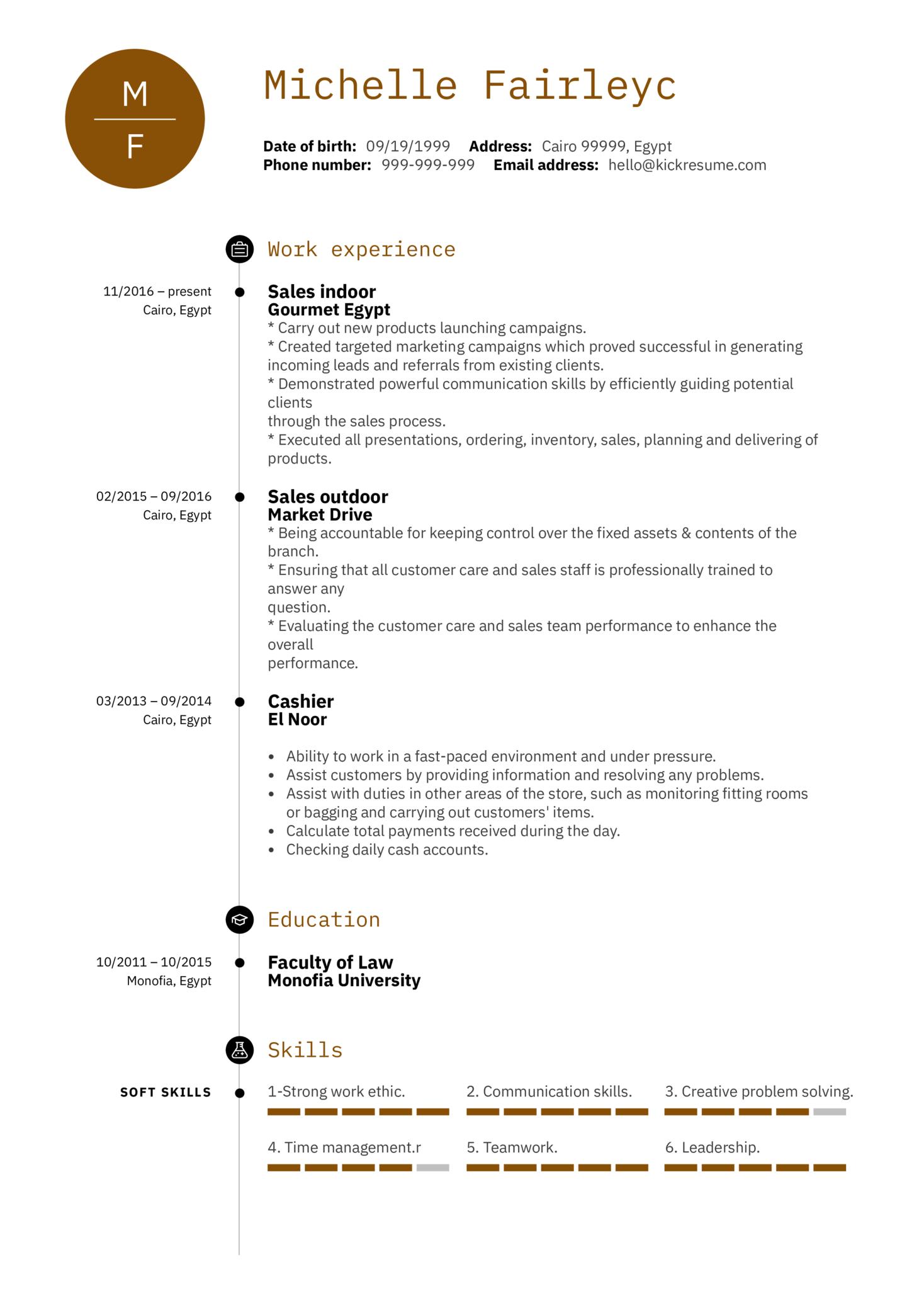 sample cv for sales representative in nz