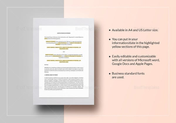 simple power of attorney sample nz