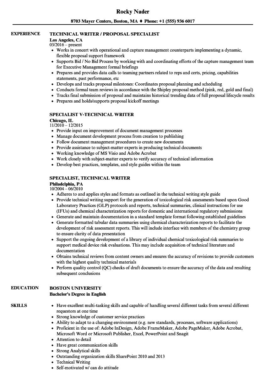 scientific writer resume sample