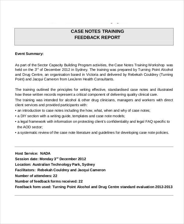 training feedback sample letter