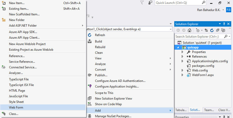 users form web application in visual studio using database