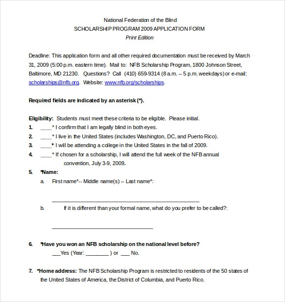 need based scholarship application template