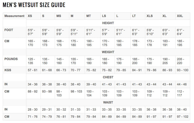 peak womens wetsuits size guide