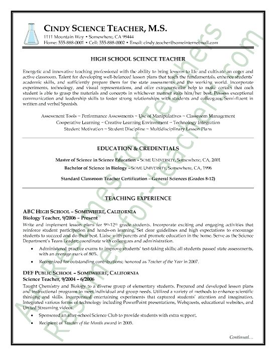 sample resume for teachers with experience