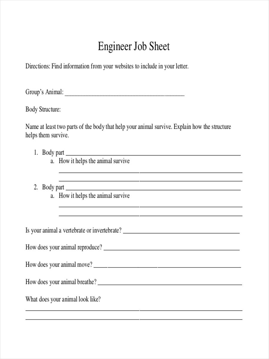service job sheet sample