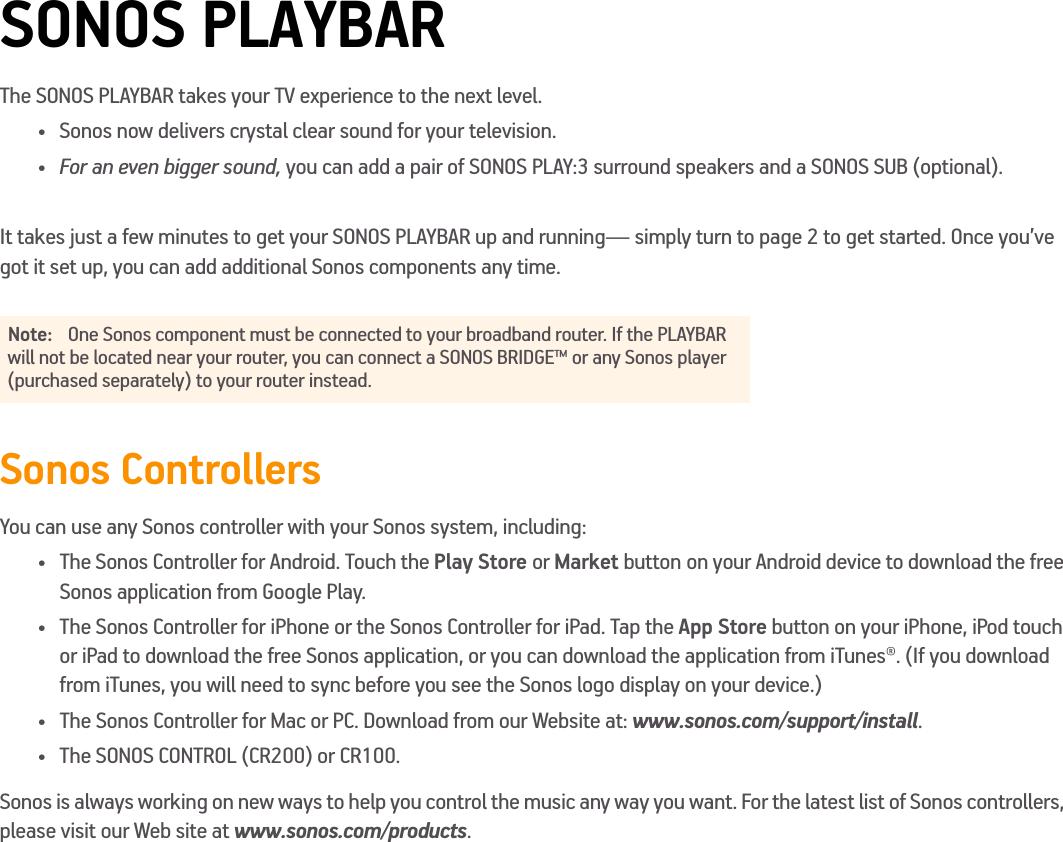 sonos playbar manual download
