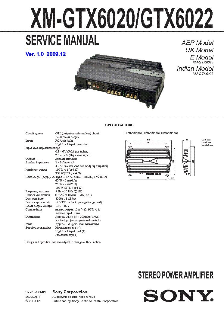 sony xm gtx6020 manual