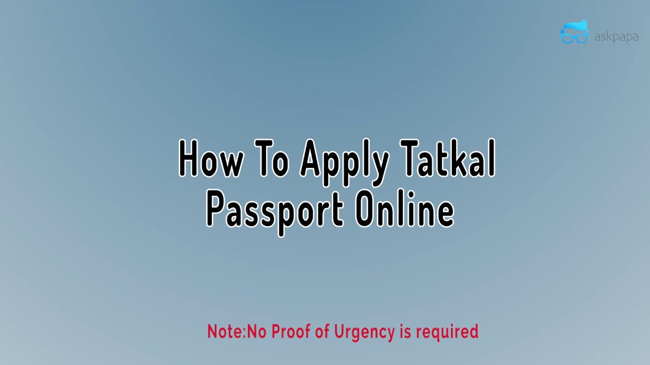 tatkal passport application
